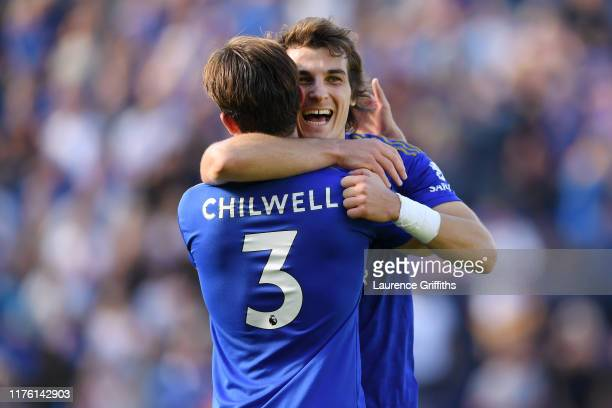 Caglar Soyuncu and Ben Chilwell of Leicester City celebrate after the Premier League match between Leicester City and Tottenham Hotspur at The King...