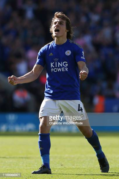 Caglar Soyuncu of Leicester celebrates their 21 victory during the Premier League match between Leicester City and Tottenham Hotspur at The King...