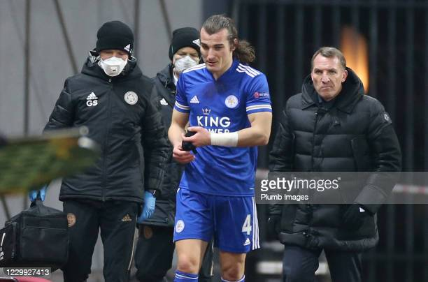 Caglar Soyuncu of Leicester City after going off injured during the UEFA Europa League Group G stage match between Zorya Luhansk and Leicester City...