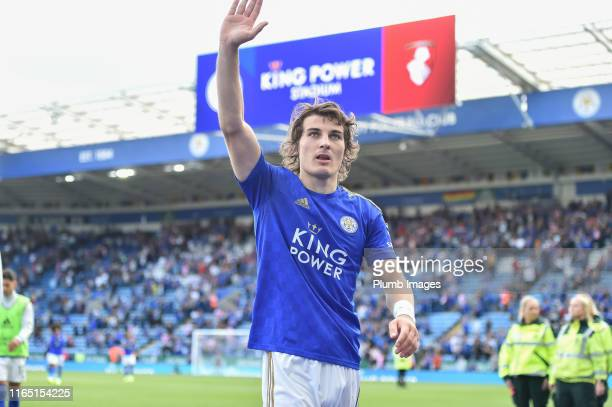 Caglar Soyuncu of Leicester City after the final whistle following the Premier League match between Leicester City and AFC Bournemouth at The King...