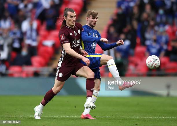 Caglar Soyuncu of Leicester City and Timo Werner of Chelsea battle for possession during The Emirates FA Cup Final match between Chelsea and...