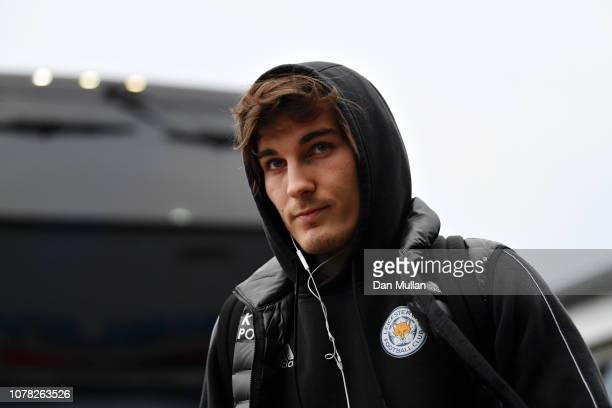 Caglar Soyuncu of Leicester City arrives at the stadium prior to the FA Cup Third Round match between Newport County and Leicester City at Rodney...