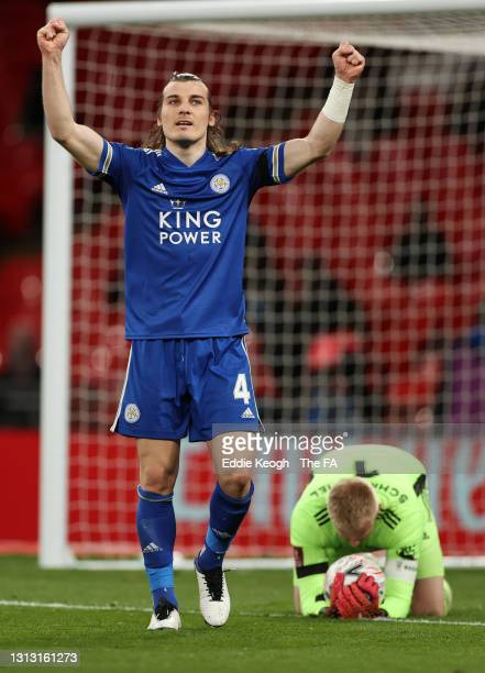 Caglar Soyuncu of Leicester City celebrates following his team's victory in the Semi Final of the Emirates FA Cup between Leicester City and...