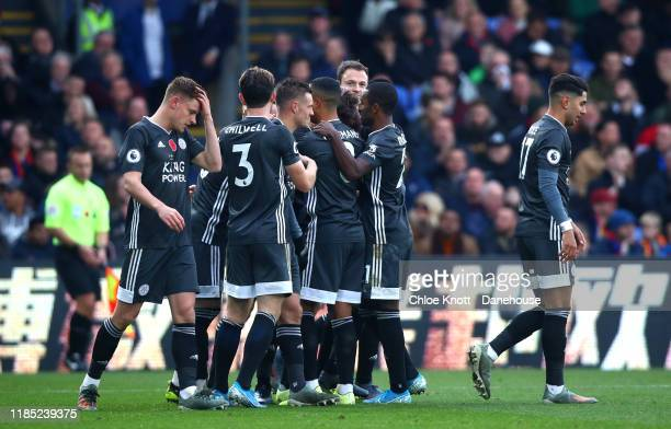 Caglar Soyuncu of Leicester City celebrates scoring his teams first goal during the Premier League match between Crystal Palace and Leicester City at...