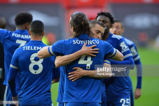 Caglar Soyuncu of Leicester City celebrates scoring the second goal for Leicester City with Timothy Castagne of Leicester City during the Premier...