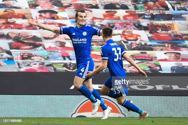 Caglar Soyuncu of Leicester City celebrates with team mate Luke Thomas after scoring their side's second goal during the Premier League match between...