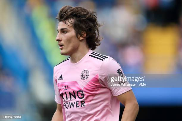 Caglar Soyuncu of Leicester City during the Premier League match between Chelsea FC and Leicester City at Stamford Bridge on August 18 2019 in London...