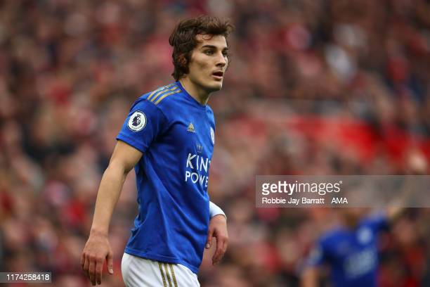 Caglar Soyuncu of Leicester City during the Premier League match between Liverpool FC and Leicester City at Anfield on October 5 2019 in Liverpool...
