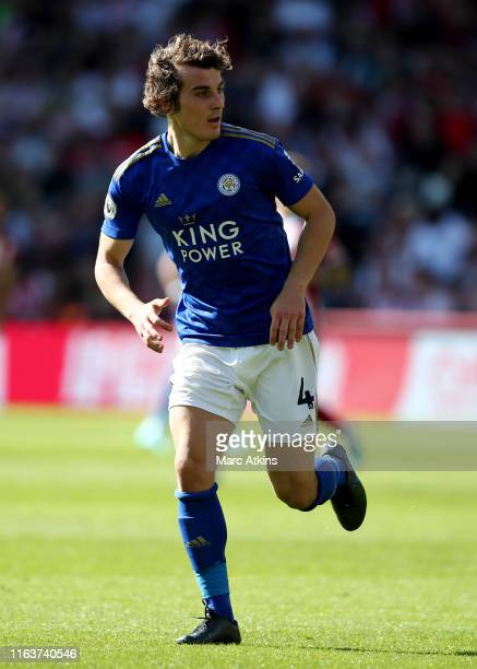 Caglar Soyuncu of Leicester City during the Premier League match between Sheffield United and Leicester City at Bramall Lane on August 24 2019 in...