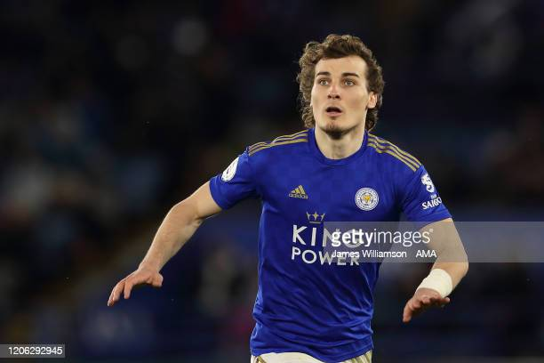 Caglar Soyuncu of Leicester City during the Premier League match between Leicester City and Aston Villa at The King Power Stadium on March 9, 2020 in...