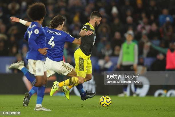 Caglar Soyuncu of Leicester City fouls Shane Long of Southampton in the box but VAR rules that Shane Long was offside during the Premier League match...