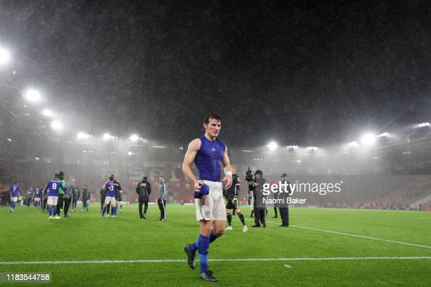 Caglar Soyuncu of Leicester City gives his shirt to fans after the Premier League match between Southampton FC and Leicester City at St Mary's...
