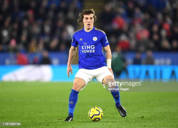 Caglar Soyuncu of Leicester City in action during the Premier League match between Leicester City and Everton FC at The King Power Stadium on...