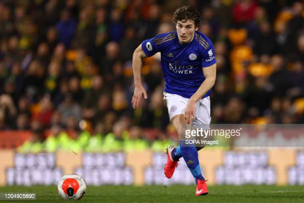 Caglar Soyuncu of Leicester City in action during the Premier League match between Norwich City and Leicester City at Carrow Road Final Score Norwich...