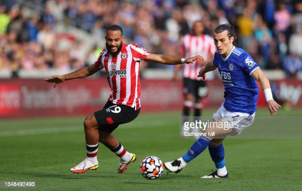 Caglar Soyuncu of Leicester City is challenged by Marcus Forss of Brentford during the Premier League match between Brentford and Leicester City at...