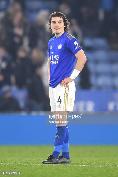 Caglar Soyuncu of Leicester City looks dejected at full-time after the Premier League match between Leicester City and Liverpool FC at The King Power...