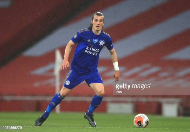 Caglar Soyuncu of Leicester City looks on with the ball during the Premier League match between Arsenal FC and Leicester City at Emirates Stadium on...
