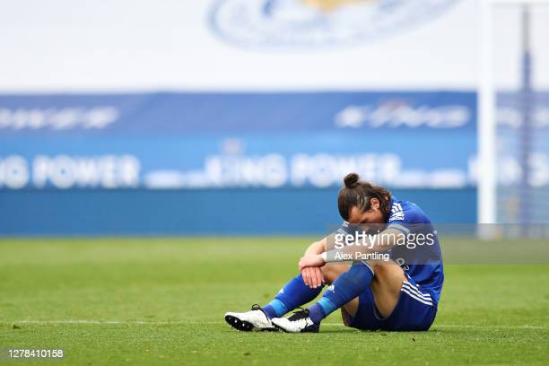 Caglar Soyuncu of Leicester City reacts at full time of the Premier League match between Leicester City and West Ham United at The King Power Stadium...