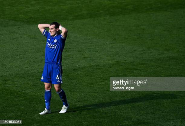 Caglar Soyuncu of Leicester City reacts during the Premier League match between Leicester City and Arsenal at The King Power Stadium on February 28,...
