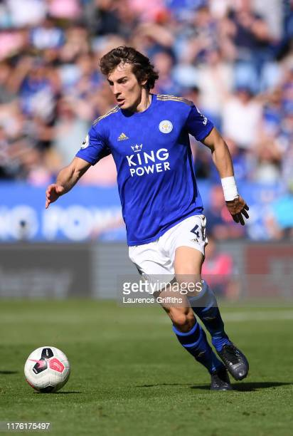 Caglar Soyuncu of Leicester City runs with the ball during the Premier League match between Leicester City and Tottenham Hotspur at The King Power...