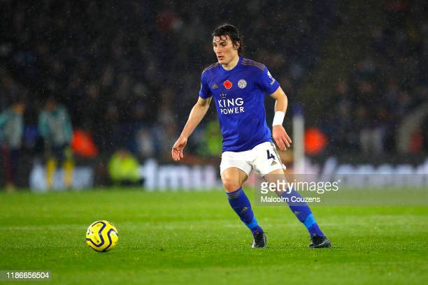 Caglar Soyuncu of Leicester City runs with the ball during the Premier League match between Leicester City and Arsenal FC at The King Power Stadium...
