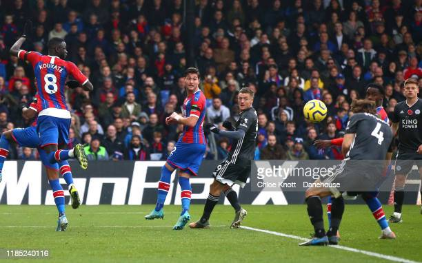 Caglar Soyuncu of Leicester City scores his teams first goal during the Premier League match between Crystal Palace and Leicester City at Selhurst...