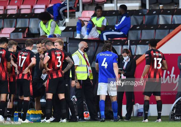 Caglar Soyuncu of Leicester City walks off the pitch after being shown the red card during the Premier League match between AFC Bournemouth and...