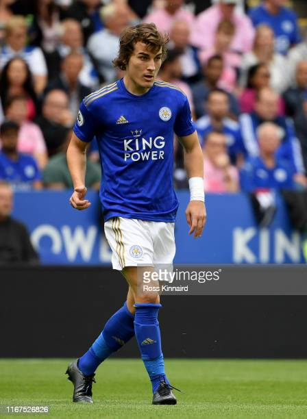 Caglar Soyuncu of Leicester in action during the Premier League match between Leicester City and Wolverhampton Wanderers at The King Power Stadium on...