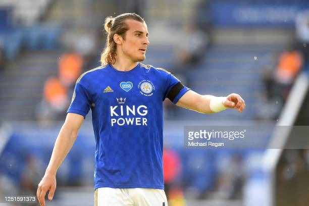 Caglar Soyuncu of Leicester in action during the Premier League match between Leicester City and Brighton & Hove Albion at The King Power Stadium on...