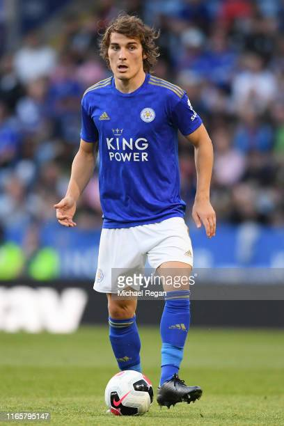 Caglar Soyuncu of Leicester in action during the PreSeason Friendly match between Leicester City and Atalanta at The King Power Stadium on August 02...