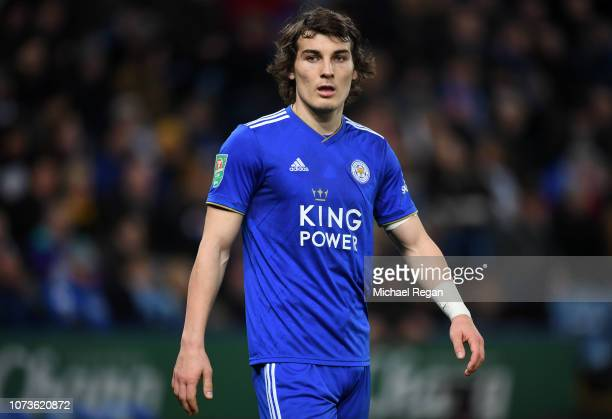 Caglar Soyuncu of leicester looks on during the Carabao Cup Fourth Round match between Leicester City and Southampton at The King Power Stadium on...