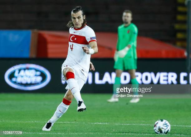 Caglar Soyuncu of Turkey in action during the UEFA Nations League group stage match between Serbia and Turkey at Rajko Mitic Stadium on September 6,...