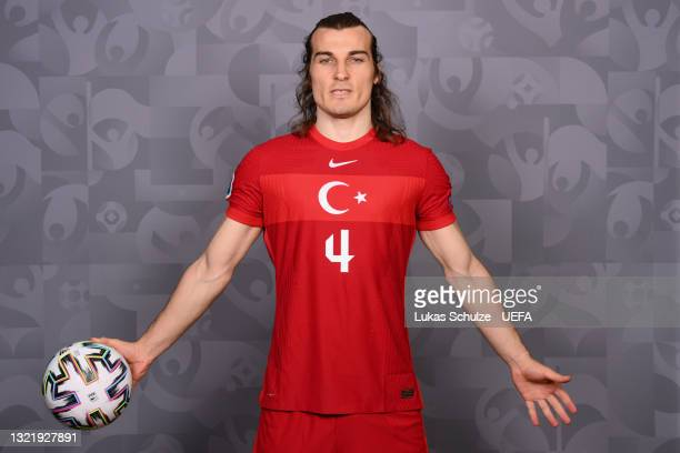 Caglar Soyuncu of Turkey poses during the official UEFA Euro 2020 media access day on June 04, 2021 in Harsewinkel, Germany.