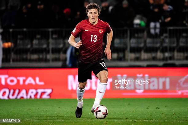 Caglar Soyuncu of Turkey runs with the ball during the FIFA World Cup 2018 qualifying football match between Finland and Turkey in Turku Southern...