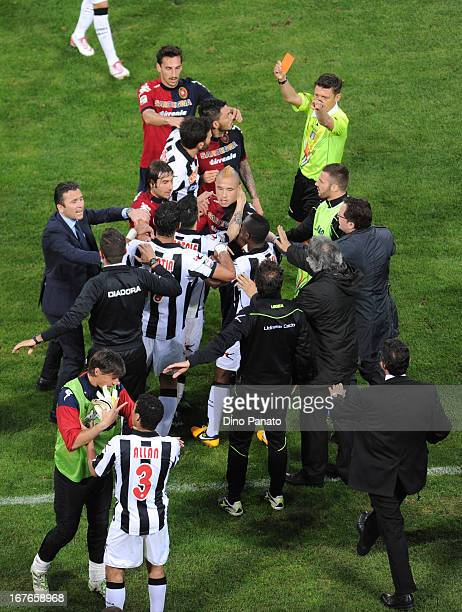 Cagliari Calcio and Udinese Calcio players get involved in a scuffle during the Serie A match between Cagliari Calcio and Udinese Calcio at Stadio...