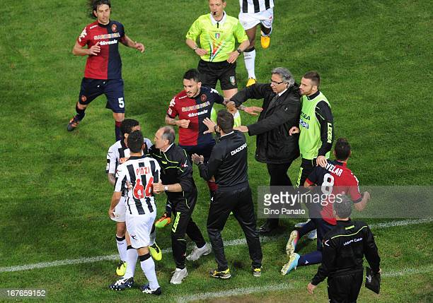 Cagliari Calcio and Udinese Calcio players throw a punches during the Serie A match between Cagliari Calcio and Udinese Calcio at Stadio Sant'Elia on...