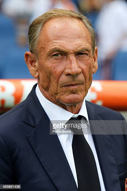Cagliari Calcio head coach Zdenek Zeman looks on during the Serie A match between AS Roma and Cagliari Calcio at Stadio Olimpico on September 21 2014...