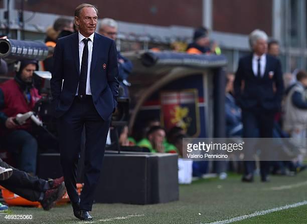 Cagliari Calcio head coach Zdenek Zeman watches the action during the Serie A match between Genoa CFC and Cagliari Calcio at Stadio Luigi Ferraris on...