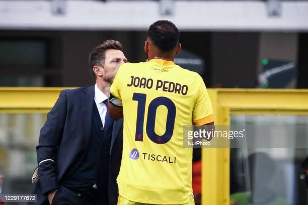 Cagliari coach Eusebio Di Francesco talks with Cagliari midfielder Joao Pedro during the Serie A football match n.4 TORINO - CAGLIARI on October 18,...