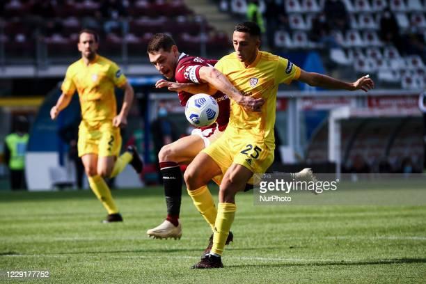 Cagliari defender Gabriele Zappa fights for the ball against Torino forward Andrea Belotti during the Serie A football match n4 TORINO CAGLIARI on...