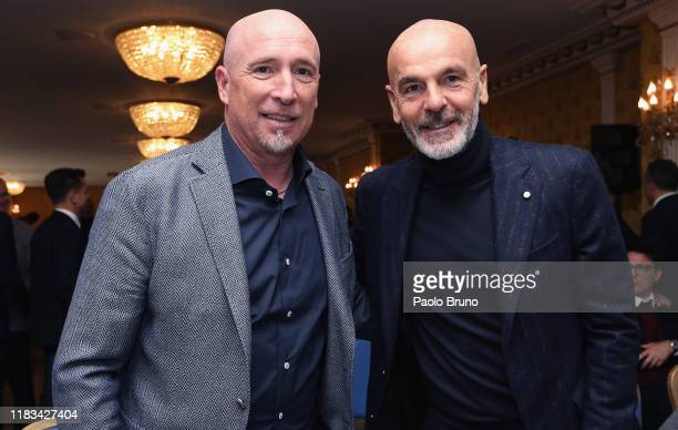 Cagliari head coach Rolando Maran and AC Milan head coach Stefano Pioli attend the Italian football federation and Italian Association Referees press...