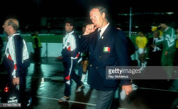 Cagliari Italy 11 June 1990 Republic of Ireland manager Jack Charlton leaves the pitch after the FIFA World Cup 1990 Group F match between England...