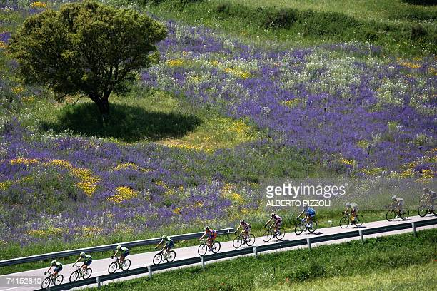 The pack rides during the third stage of the Giro d'Italia cycling race 180 km leg from Barumini to Cagliari on the Italian Island of Sardinia 14 May...