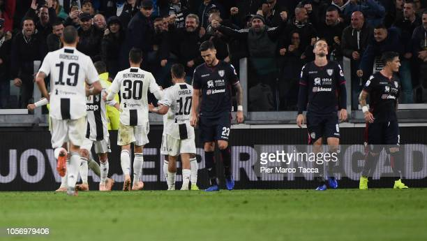 Cagliari players disappointed after the own goal during the Serie A match between Juventus and Cagliari on November 3 2018 in Turin Italy