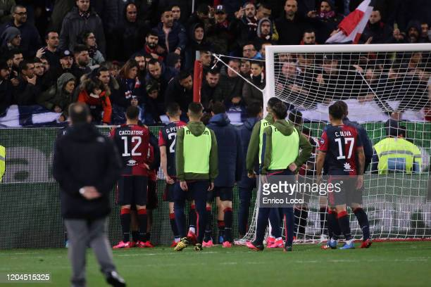 Cagliari players talk fans at the end of the match during the Serie A match between Cagliari Calcio and AS Roma at Sardegna Arena on March 1 2020 in...