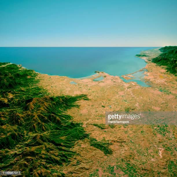 cagliari sardinia italy 3d render horizon aerial view from north mar 2019 - frankramspott foto e immagini stock