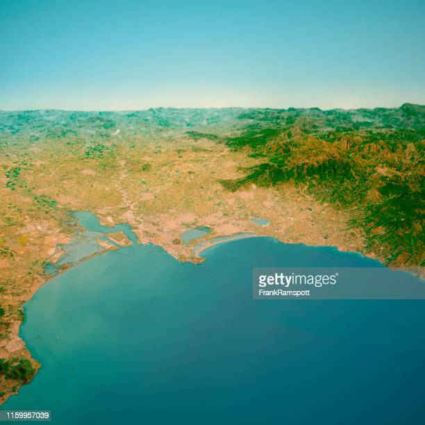 cagliari sardinia italy 3d render horizon aerial view from south mar 2019 - frank ramspott stock pictures, royalty-free photos & images