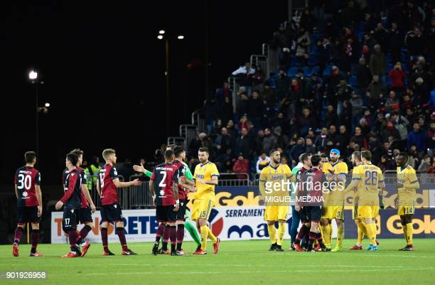Cagliaris and Juventus players shake hands after the Italian Serie A football match between Cagliari Calcio and Juventus at the Sardegna stadium in...