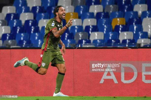 Cagliari's Argentinian midfielder Lucas Castro celebrates after opening the scoring during the Italian Serie A football match Napoli vs Cagliari on...
