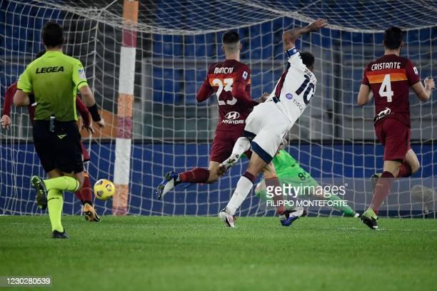 Cagliari's Brazilian midfielder Joao Pedro scores an equalizer during the Italian Serie A football match AS Roma vs Cagliari on December 23, 2020 at...